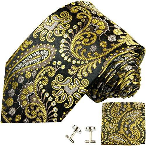 Paul Malone Krawatten Set 3tlg 100% Seide schwarz gelb paisley (Normallange 150cm)