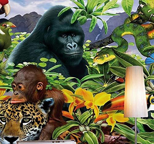 Bdhnmx-muurbehang 3D regenwoud dier wereld groene bos planten mediterrane tv bank achtergrond muur niet-geweven behangen muurschilderingen 3D 200 x 140 cm.