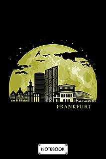 Frankfurt Moon Light Night Stars Skyline Notebook: Diary, Matte Finish Cover, Journal, Planner, Lined College Ruled Paper,...