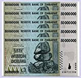 Zimbabwe 50 millones de dólares x 5 2008 UNC World Inflation Record, Currency Banknotes