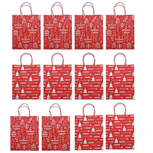 Tomaibaby 12Pcs Bolsas Bolsas de Comestibles Portátiles Bolsas de Compras Bolsa de Dulces de Navidad para Las Vacaciones Favor de La Fiesta de Navidad de Navidad