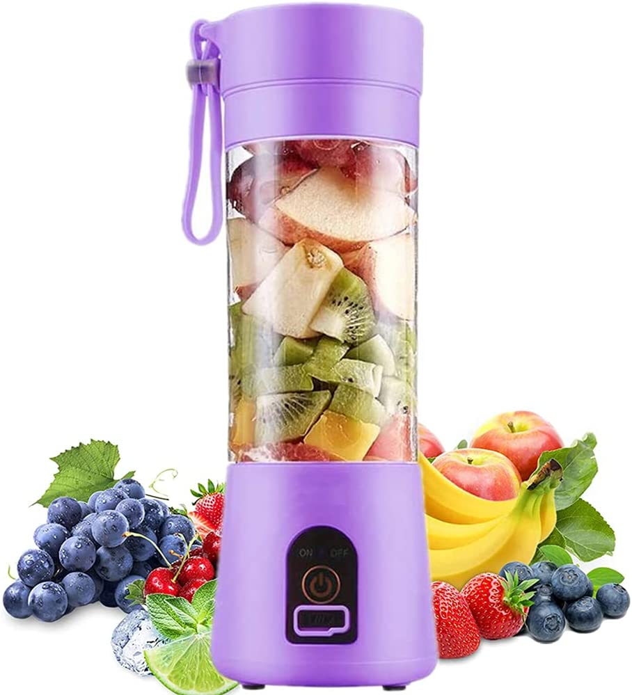 Portable Blender, Personal Blender, Small Fruit Mixer with 6 Blades, Electric USB Rechargeable Juicer Cup, Fruit Mixing Machine Home,BBQ,Travel (Purple)