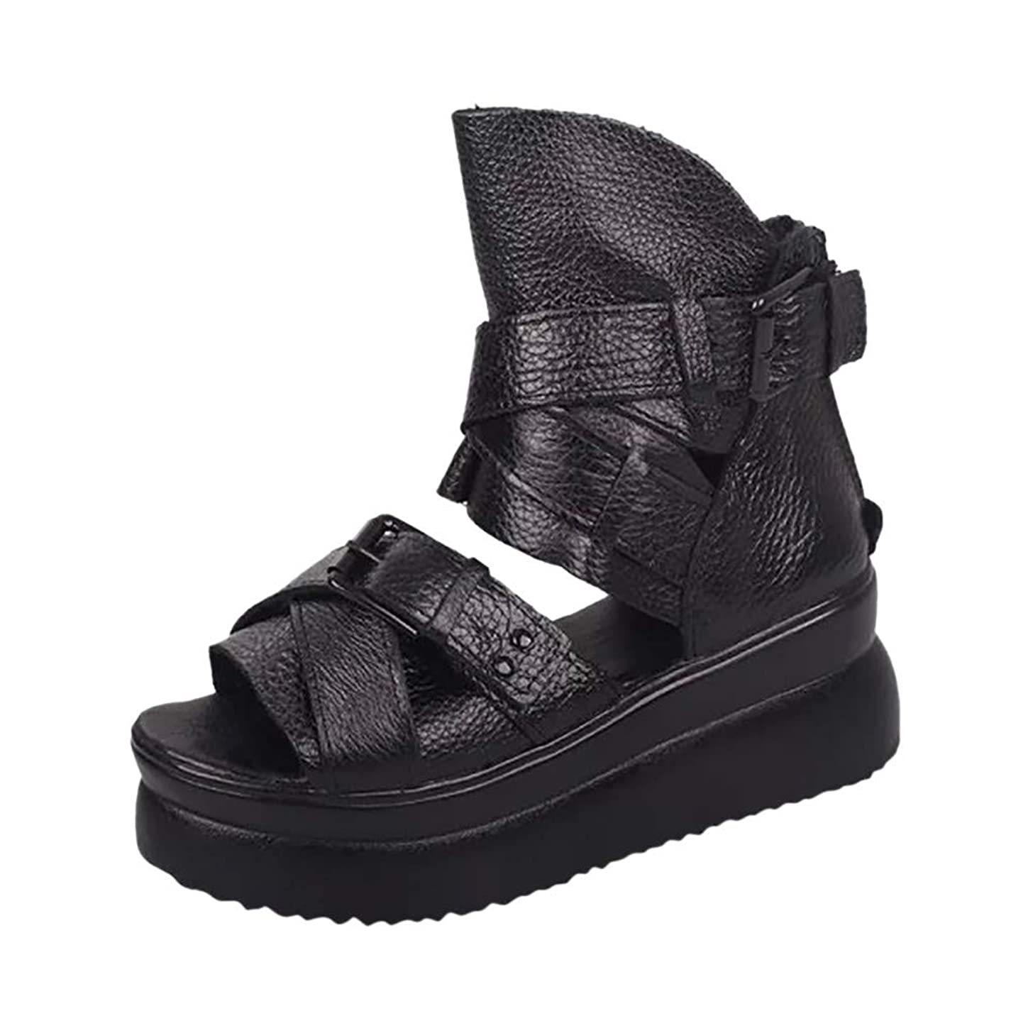 Womens Sandals for Women Huizhuangshigong Women's Summer Roman Fish Mouth Shoes Thick Bottom Cake Rivet Wedge Sandals(43, Black)