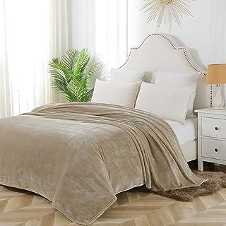 Bourina Flannel blanket throw Lightweight Cozy Plush Microfiber Solid fleece Blanket,Queen size 90 * 90 Inch,Beige
