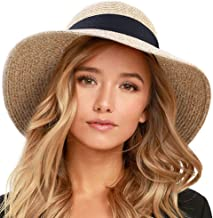 FURTALK Womens Beach Sun Straw Hat UV UPF50 مسافرت Foldable Brim تابستان UV کت