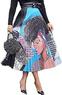 Women Color Block Graffiti Letter Print Cartton Pleated A Line Maxi Long Party Skirt