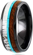 King's Cross Elegant Hi-Tech 8mm Gunmetal Black Polished Ceramic Domed Band Ring with Awesome Deer Antler, Koa Wood, Blue Turquoise Inlays.