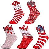 LLMZ Calcetines de Algodón Navidad 5 Pares Térmicos Calcetines Invierno Patrón De Dibujos Calcetines Regalo de Fiesta Navidad Adultos Cómodo Calcetines Tamaño Estándar