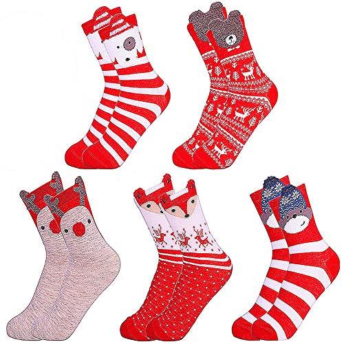 LLMZ Chaussettes de Noël 5 Paires Chaudes Chaussettes Confortable Coton Motif Animal Chaussette Adulte Chaussettes - Idée Douce Chaussette de Noël pour Les Femmes, Taille Unique