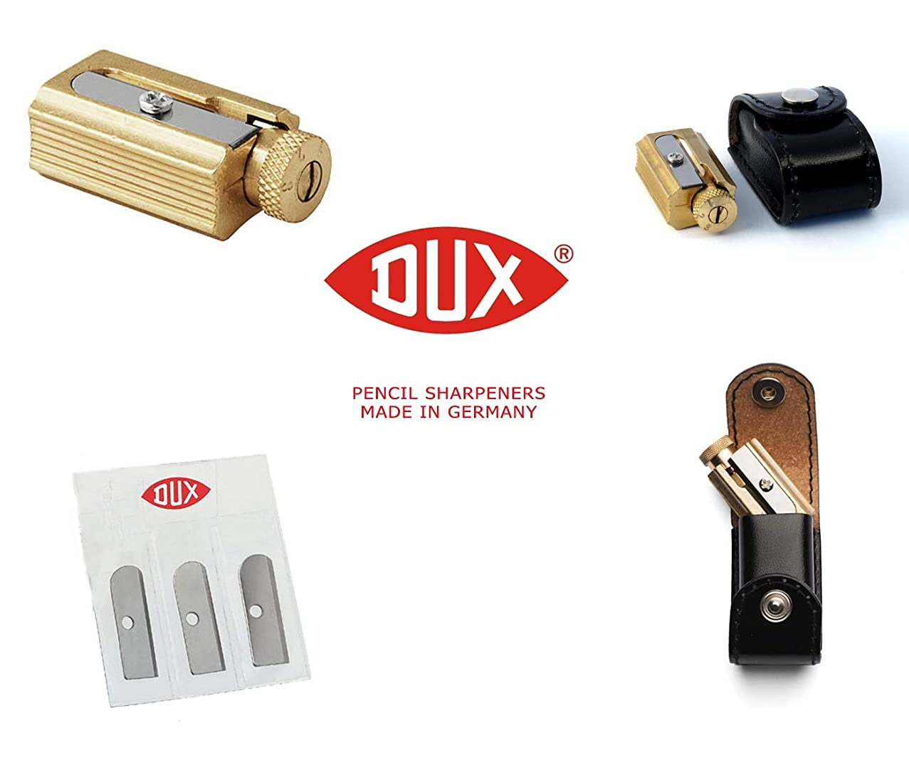 DUX Legendary Adjustable Pencil Sharpener + 3 Replacement Blades - Brass in a Genuine Leather case - Made in Germany