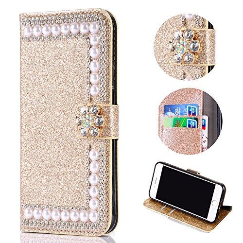 Shinyzone Glitzer Brieftasche Hülle für Samsung Galaxy A6 2018, Diamant 3D Blume Magnetverschluss Standfunktion Flip Ledertasche mit Kartenfächer Schutzhülle,Golden