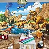 Papel Pintado Mural 3D Personalizado Dinosaurio Tyrannosaurus Rex Frente Al Lago Habitación Infantil-400Cmx280Cm