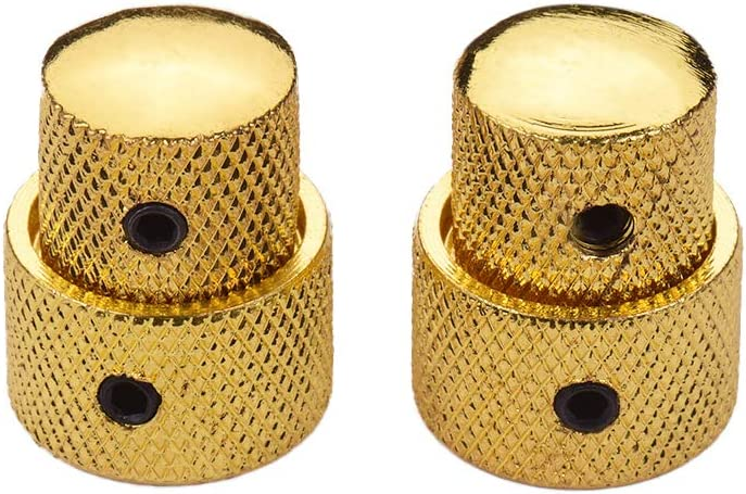 2 Sets Dual Concentric Stacked Control Knobs for Electric Bass Guitars Gold Color