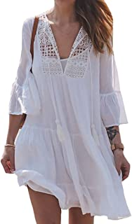 Bestme Women's Crochet Lace Rayon Bikini Bathing Suit Cover Up Tunic Dress Swimwear Beachwear
