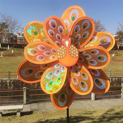 ECMQS doppel große pfau pailletten windmühle kreative dekorative windmühle, Outdoor dekoration kinder pädagogisches spielzeug (Orange)