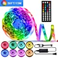 50ft/15M LED Strip Lights Kit,5050 RGB 450D Flexible Non-Waterproof Tape Lights with 24V Power Supply 44Key IR Remote Controller for Home Ceiling Lighting Kitchen BarIndoors,Living Room