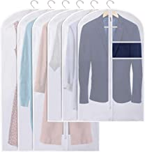 Kootek Garment Bag Covers 2-Size Clear Garment Clothing Protectors Suit Bags Cover with Zipper for Closet, Garment Rack (Set of 6)