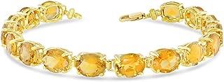 Fine 14k Yellow Gold Genuine Oval Citrine (9x7) Tennis Bracelet