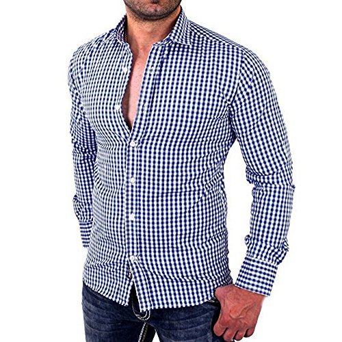 QUICKLYLY Camisa Casual para Hombres Camisas a Cuadros Ajuste de Manga Larga Negocio (L, Azul)
