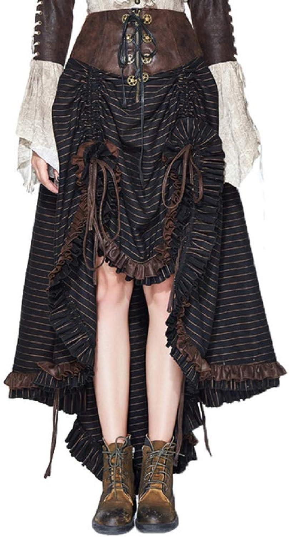 Devil Fahsion Women Steampunk Retro Skirt Gothic Punk Women's Stripe Waist Irregular Steampunk Skirt