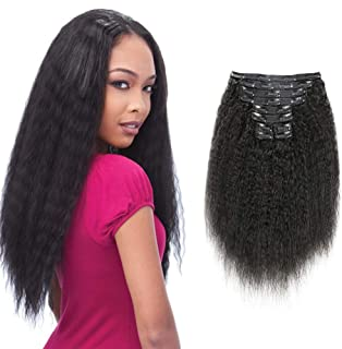 Alishow Hair Kinky Straight Clip In Human Hair Extensions Clip Ins Human Hair 8A Italian Coarse Yaki Brazilian Virgin Hair Clip In Extension 10pcs/lot,120gram/set (10Inch,Natural Black)