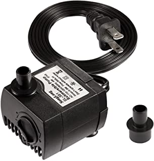 Timaik 80 GPH (300L/H,  4W) Submersible Water Pump For Pond,  Aquarium,  Fish Tank Fountain Water Pump Hydroponics with 6ft (1.8m) Power Cord,  With 2 nozzles