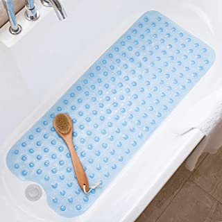 Tree Bud Bathtub Mats for Shower Tub Non-Slip Anti Bacterial Bath Mat 39 x 16 Inch Extra Long Shower Mat, Bath Tub Mat for Bathroom with Machine Washable, BPA Free for Kids (Clear Blue)