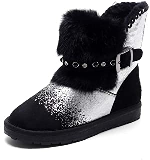 37b7c00d5 Women's Snow Boots Fashion Gold Silver Punk Style Ankle Boot Winter Warm  Add Plush Female Shoes