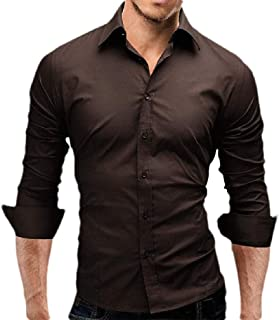 Macondoo Men's Long Sleeve Lapel Solid Top Button Down Shirts