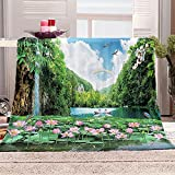 Flanelldecke Kuscheldecke Lotus Schwan Landschaft Sherpa Decke 3D Gedruckt Warm Flauschige Decke TV-Decke Sofadecke Wohndecke Tagesdecke Kinderdecken 130x150cm