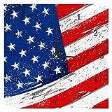 BestIdeas Amerikanische Flagge mit rauer Grunge-Textur, geräuschlos, Quarz-Wanduhr, nicht tickend, batteriebetrieben, Heimdekoration für Schlafzimmer, Wohnzimmer, Küche, Büro
