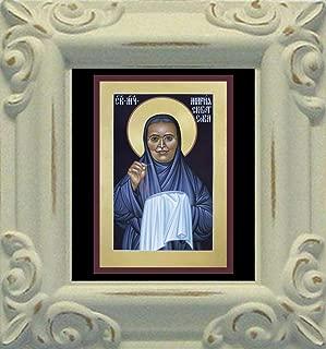 Trinity Stores Mini Magnet Framed Religious Art Print - Antique White-3¾x4¼ - St. Maria Skobtsova by Br. Robert Lentz, OFM