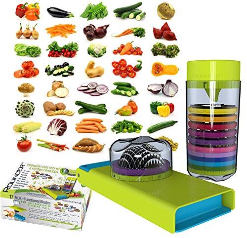 Rouncer, Herbst Zitrone - Gemüseschneider Obstschneider - keine Schale 5 Sekunden Zwiebel dicer Chopper, 17 Messer, Apfelentkerner, Schäler, Reibe, Mandoline Slicer, Kräuter, und Spiralschneider