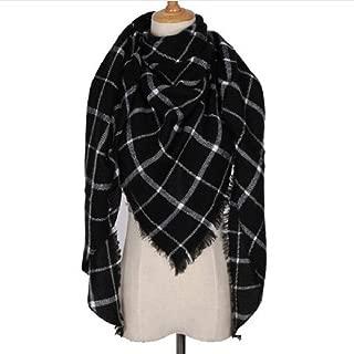 WinterTriangle scarf Warm Scarfs Women Shawl Scarf Ladies Plaid Blanket Tartan Scarf Color Block Style with Tassel Cashmere Large Blanket