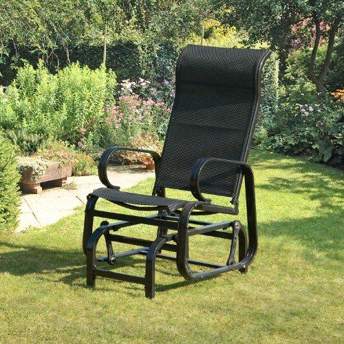 Suntime Havana Single Seat Glider Chair in Black - Garden Armchair - Metal - Patio Chair in Black - Textiline Seat - Sturdy Steel Frame - Rocking Chair