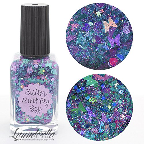 Lynnderella Limited Edition Multi Glitter Aqua Holographic Nail Polish—ButterMint Fly Boy