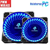 120mm pwm Fan 2PACK Asiahorse Solar Eclipse Hydraulic Bearing Quiet Cooling case Fan for Computer 32 LEDs Mirage 1800 RPM connectors 4 pin with Anti Vibration Rubber Pads(Blue)