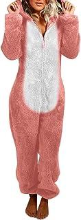 KEERADS - Mono de pijama unisex con orejas de gato, de patchwork, de una pieza, de manga larga, ropa de noche, traje, de peluche suave y esponjoso