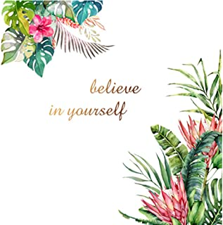 Tropical Jungle Plants Flower Wall Art Decal Believe in Yourself Inspirational Quote Wall Stickers Removable Art Murals,Ho...