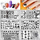 XIDAJIE 6 paquetes de placas de arte de uñas de...
