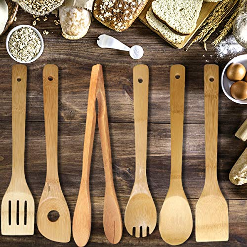 YWQ 6 Pezzi Utensili da Cucina in Legno bambù, Set di Cucchiai/Spatole da Cucina in bambù,Set di...