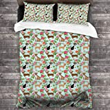"""Corgi Butt Dog Bed Sheet Set Stain Resistant Breathable Bedding Sets Ultra Soft Microfiber Luxury Bed Cover Machine Washable Quilt Coverlet 3 Pieces with Sheet +20"""""""" x30 Pillowcase"""