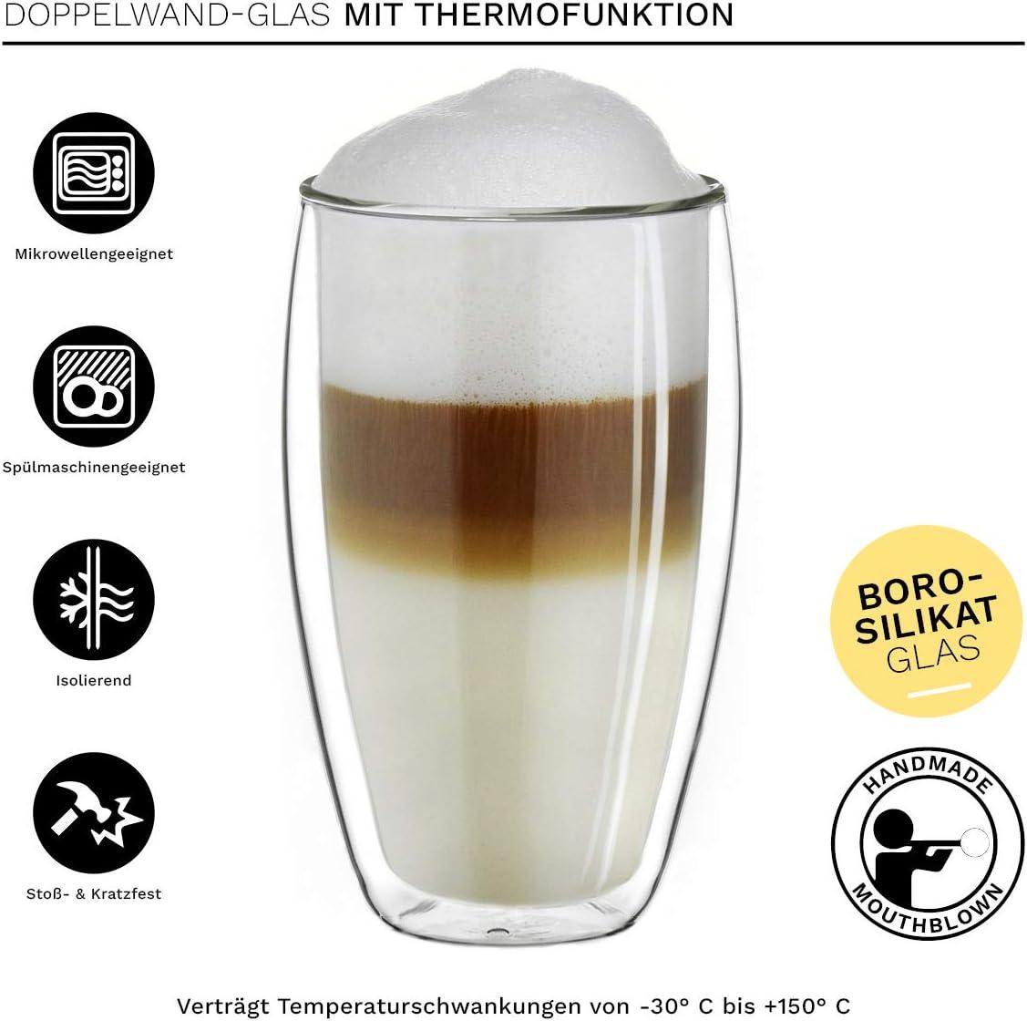 tasses isothermes Creano Tasses en verre /à double paroi 250 ml 4 x 250 ml