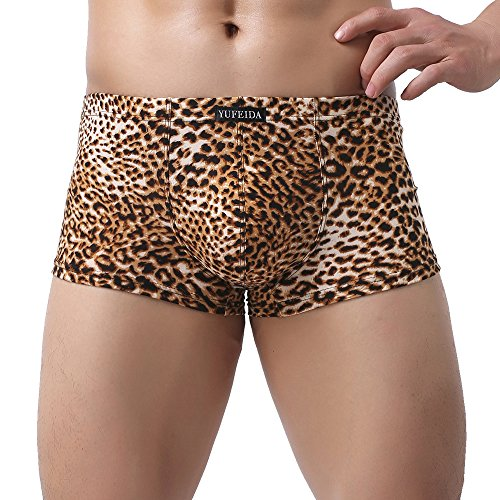 YUFEIDA Men's Boxer Briefs Low Rise Sexy Leopard Print Underwear Man Shorts Underpants (XL, Yellow)