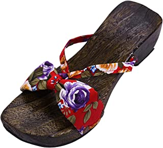 YUENA CARE Women Flip Flops Slippers Japanese Geta Wooden Clogs Sandals Japan Traditional Shoes