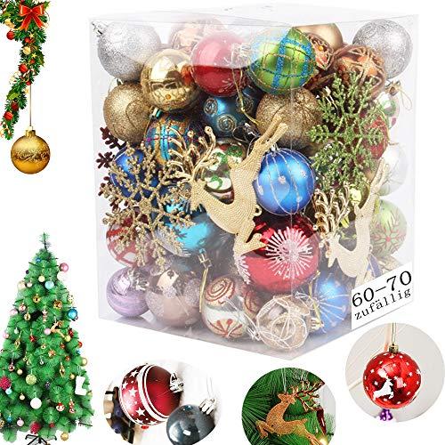 MEISHANG Weihnachtskugeln Set Bunt,Weihnachtsbaum Deko Set Kunststoff,Christbaumschmuck in Unterschiedlichen,Christbaumkugeln Set Bunt,Weihnachtskugeln,Christbaumschmuck (60-70zufällig)