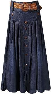 Vocni Women Vintage A Line Flared Elastic Waist Denim Jeans Long Skirt