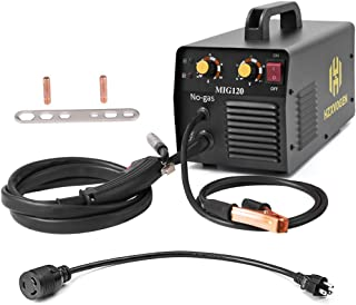 HZXVOGEN 110/220V MIG Welder 120A DC Mini Inverter 40% Duty Cycle Gasless Weld Welding Machine With Mig Torch Earth Clamp 0.8mm Flux Core (MIG120)
