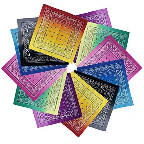 12 Pieces Novelty Gradient Bandana Classic Paisley Cotton Handkerchief 6 Gradient Multicolor