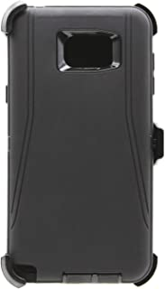 WallSkiN Turtle Series Cases for Samsung Galaxy Note 5 (Only) Tough Protection with Kickstand & Holster - Shadow (Black/Black)